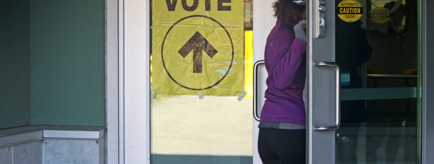 Woman enters voting station